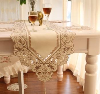 手工钩针丝带绣 餐桌 茶几布