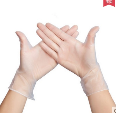 Factory direct PVC disposable industrial protective gloves, translucent disposable anti acid and alkali powder