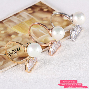 Gem opening big exaggerated pearl ring female diamond knuckle adjustable ring