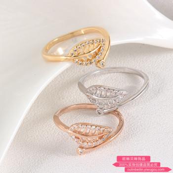 Korean fashion jewelry diamond ring leaves opening adjustable fashion female finger alive.