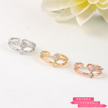 Opening drill micro / rose gold color ball ring adjustable ring female.