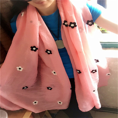 Knitting raw materials manufacturers selling new Paris embroidery embroidery cotton yarn TR female Floral Scarf