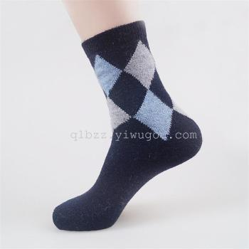 A multi diamond rabbit wool socks socks socks Mens winter warm socks rabbit wool socks