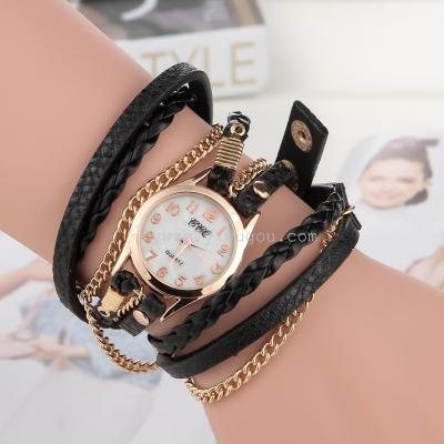 2015 new three ring braided rope chain bracelet watch watch creative ladies fashion wholesale