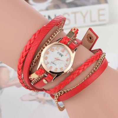 2015 new three ring braided rope chain bracelet watch watch creative ladies fashion wholesale