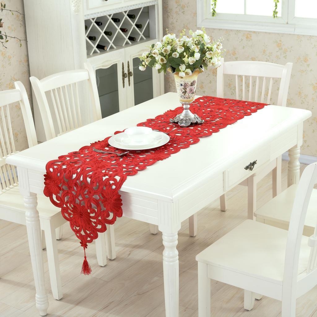 【后浪工艺品】欧式高档贡缎布艺镂空绣花餐桌布桌旗茶几布台布