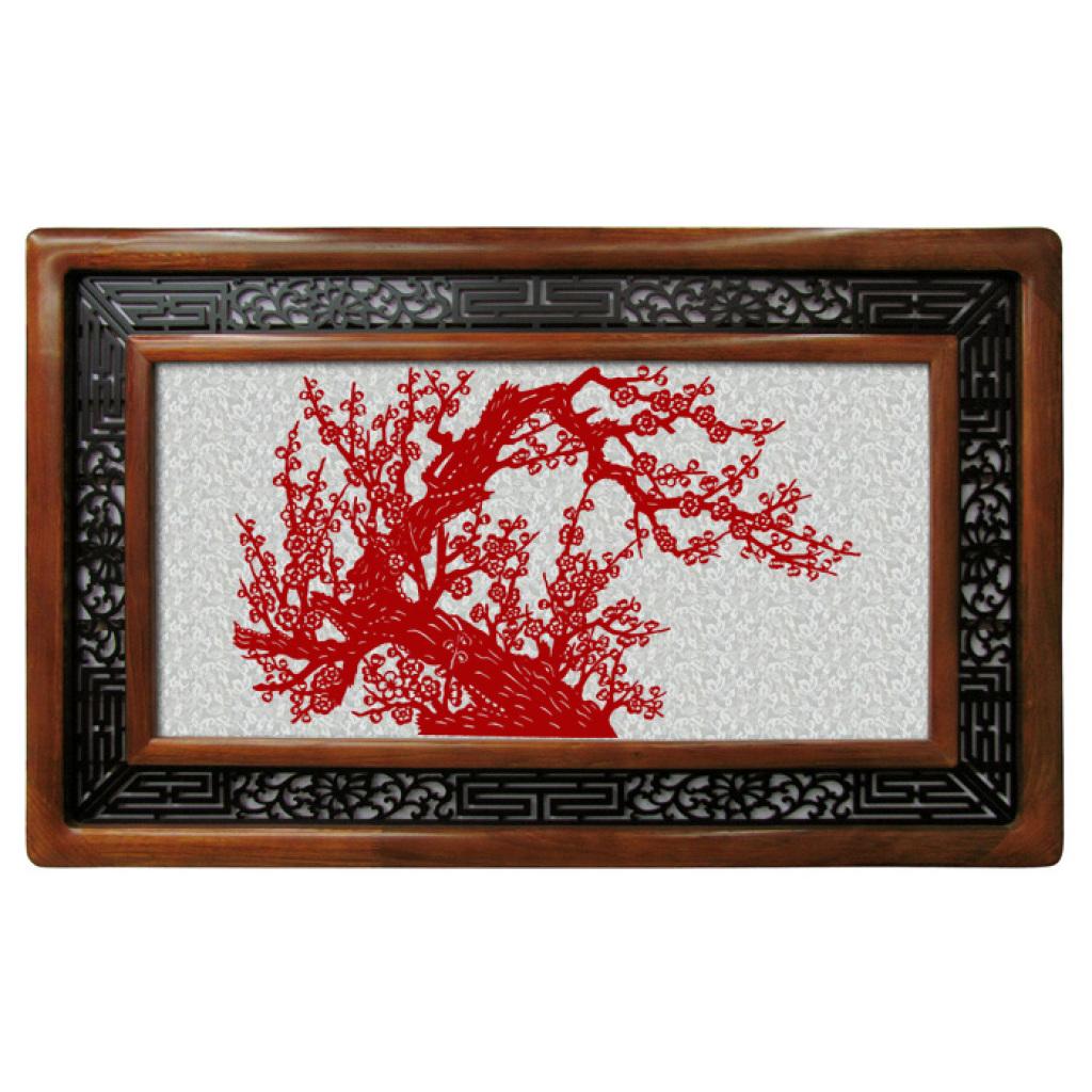 磁性剪纸梅花配实木相框