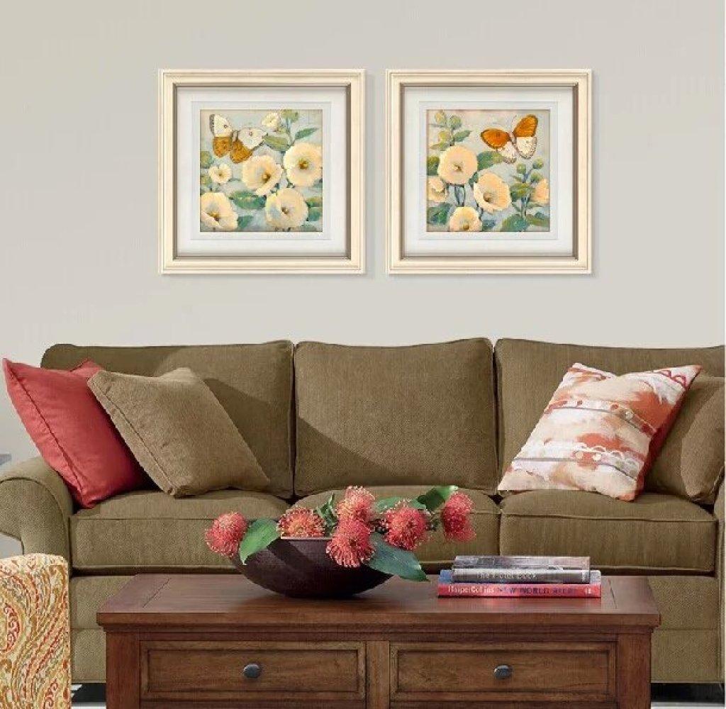 现代简约美式沙发背景花鸟画客厅装饰画餐厅卧室挂画玄关壁画
