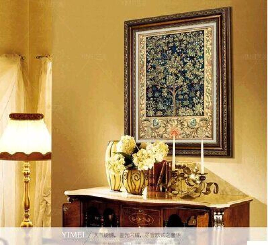 欧式装饰画客厅餐厅玄关竖卧室书房抽象风景吉祥发财