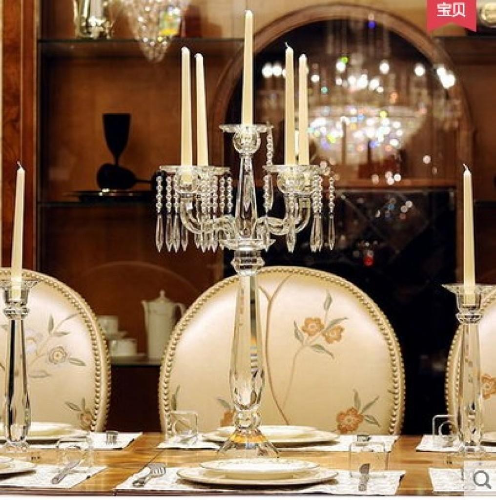欧式五头水晶蜡烛台