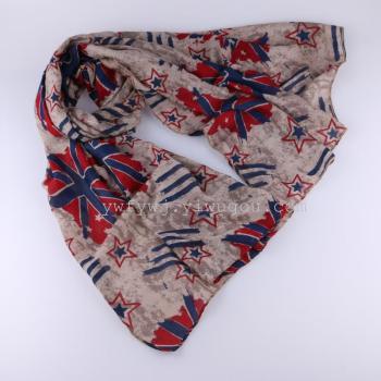 米字旗丝巾 国旗字母欧美元素时尚巴厘纱围巾