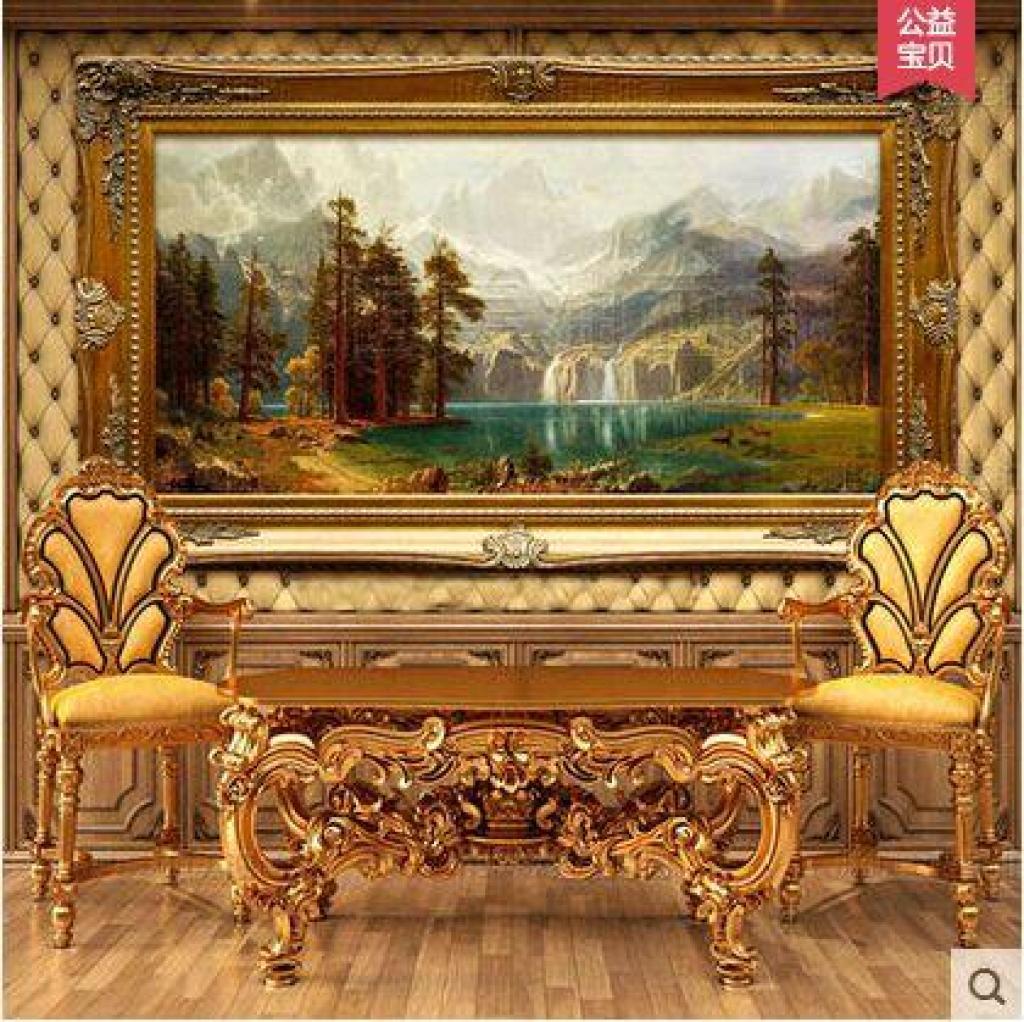 手绘油画欧式山水风景聚宝盆小鹿别墅客厅酒店办公室