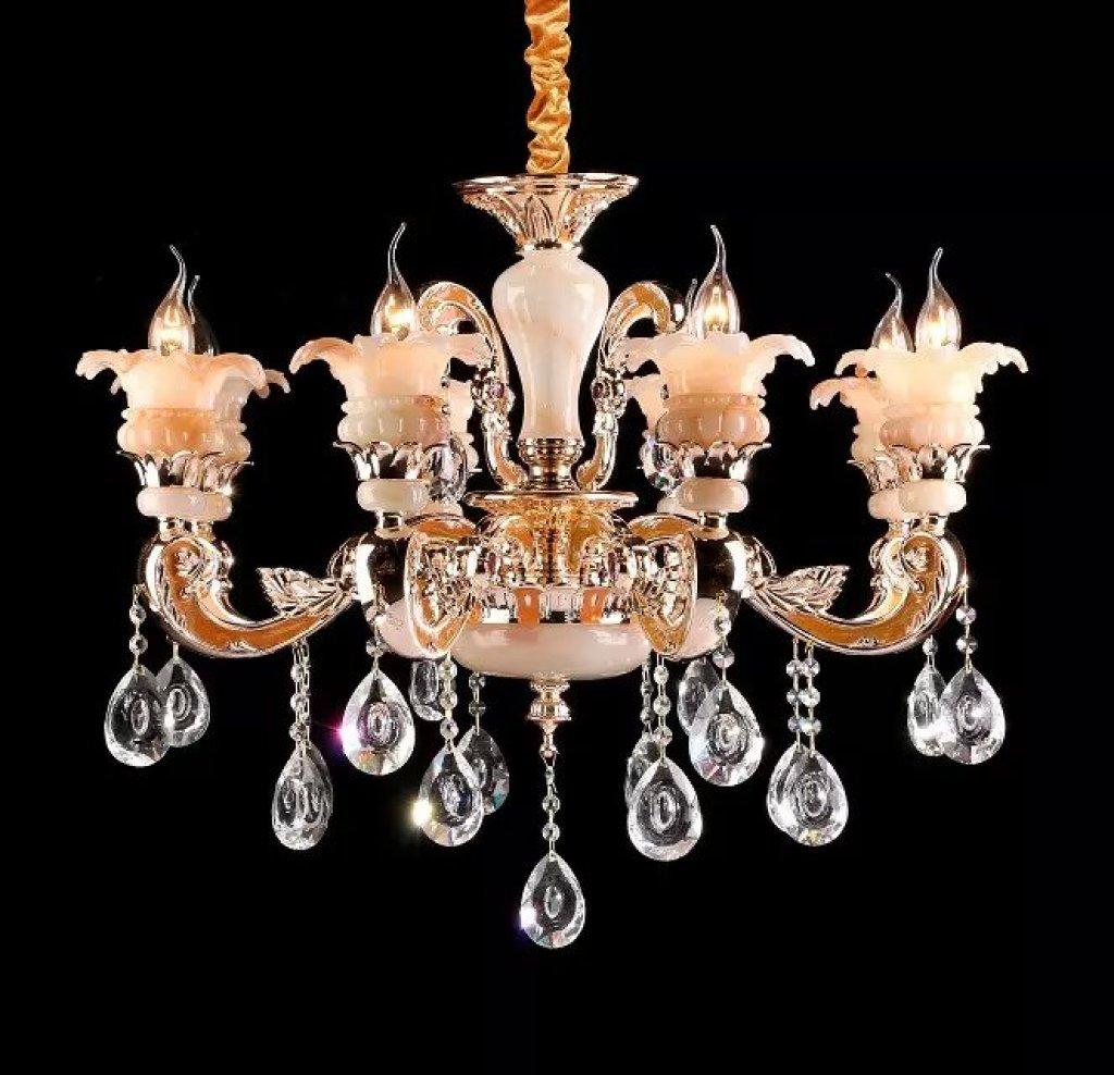 锌合金客厅6头欧式水晶吊灯