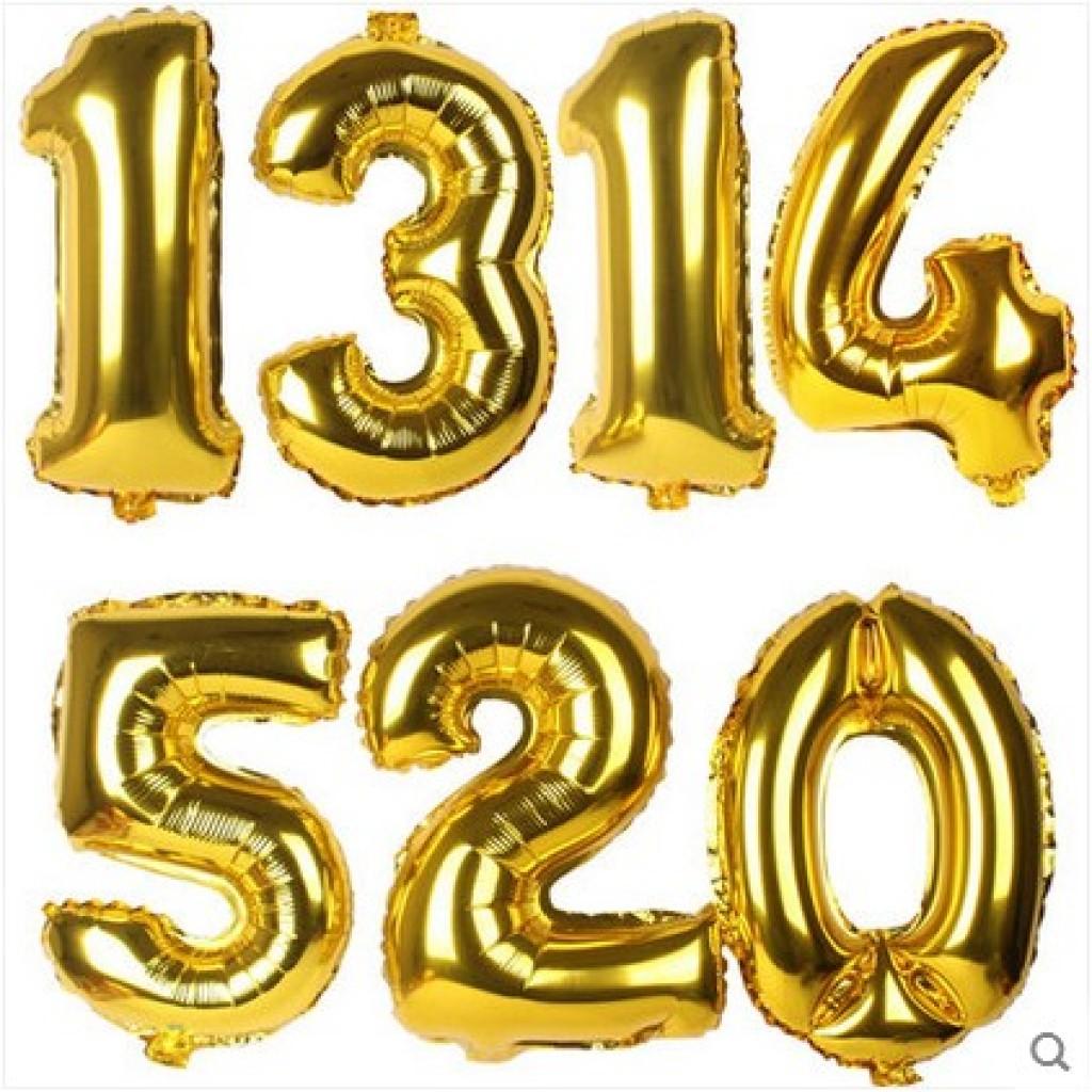 铝膜结婚用品金色数字铝箔气球 0-9数字气球庆典生日装饰