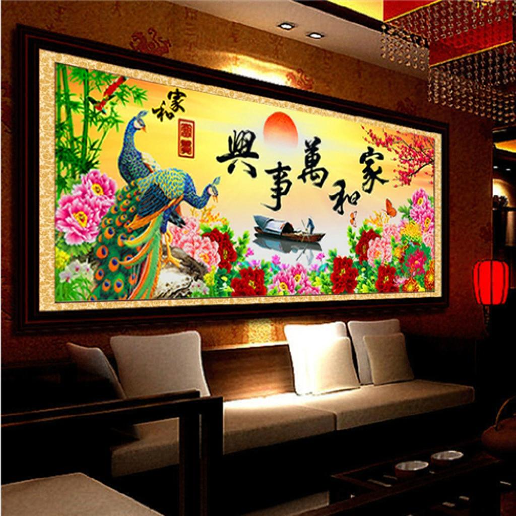 十字繡鉆石畫圓鉆花開富貴客廳臥室裝飾畫