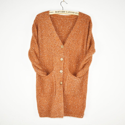 2017 new winter sweet Korean female long  button cardigan high-grade thick needle sweater for women