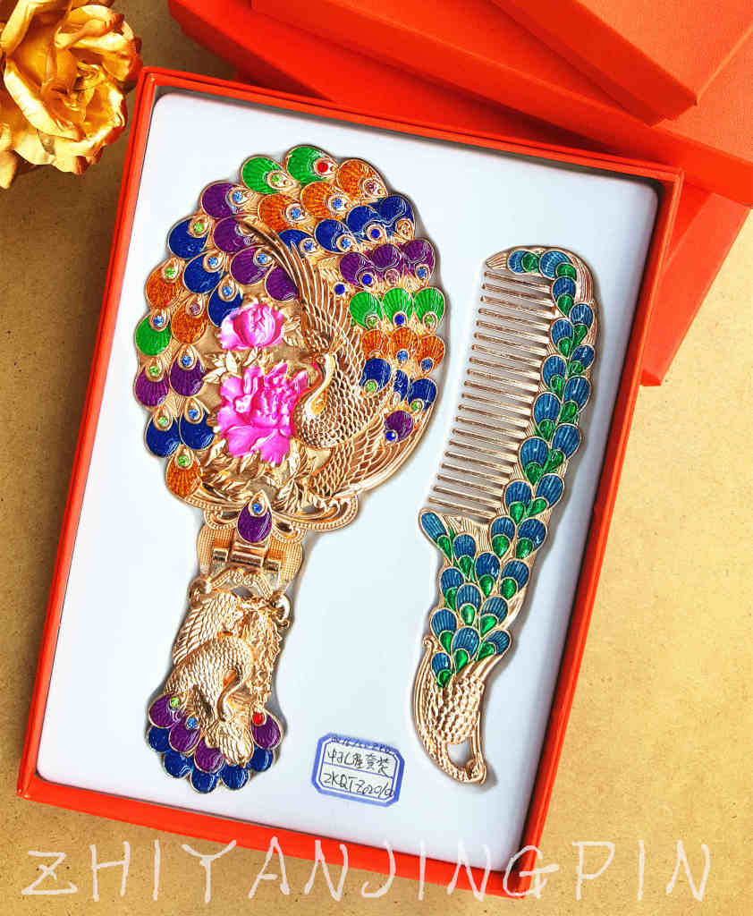 手工制作孔雀镜子台式折叠高档便携新娘创意生日礼物图片