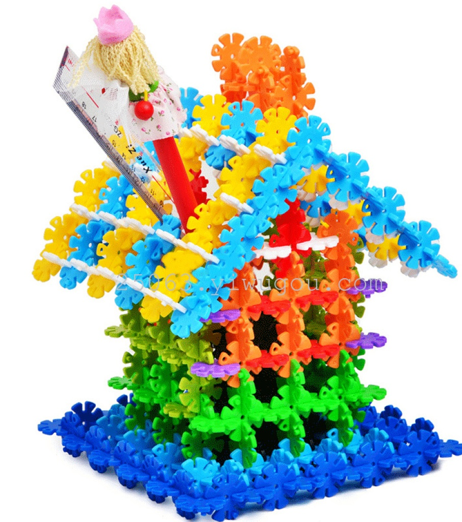 ong桶装加厚雪花片积木儿童玩具 玩具拼图塑料拼插
