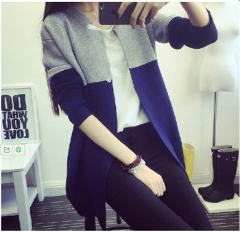 Retro stitching color sweater slim female long sweater cardigan