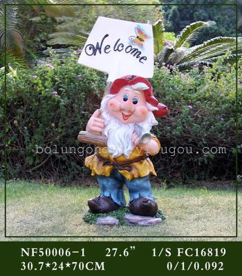 WELCOME resin decoration crafts gardening dwarf placards