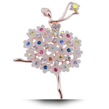 跳舞芭蕾女孩花朵水钻胸花 扣针饰品 别针 韩式