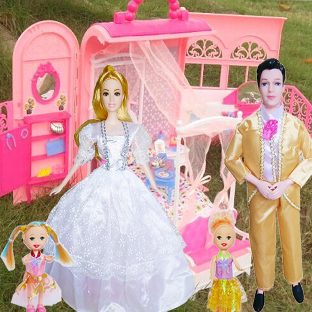 芭比娃娃家庭套裝別墅芭比娃娃禮盒別墅屋過家家玩具女孩禮物