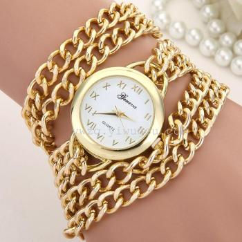 The new Geneva Geneva gold watch chain bracelet bracelet tide fashion lady three ring winding quartz watch