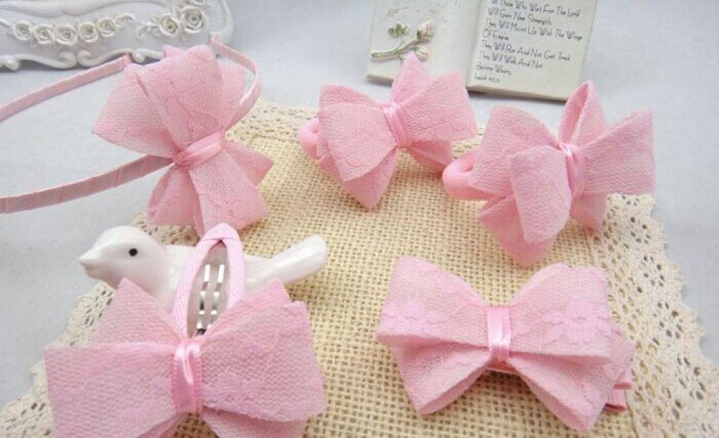 蕾丝蝴蝶结发饰品5件套 粉色系儿童头饰套装 厂家批