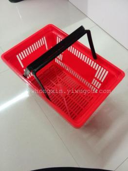 超市购物蓝,塑料镂空底内置双柄篮