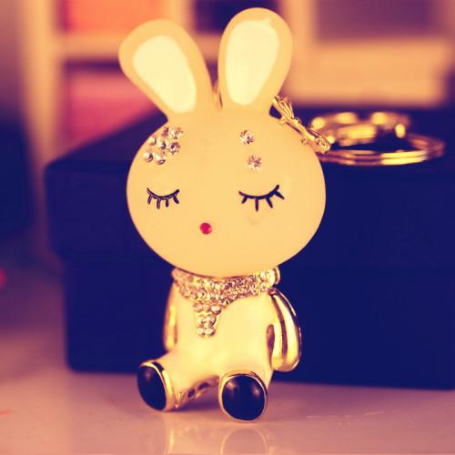 韩版镶钻可爱卡通小兔子汽车钥匙扣 合金汽车钥匙链