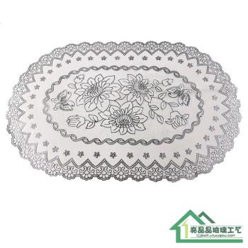 精美燙銀PVC桌布可擦洗茶幾墊餐墊鏤空雕花歐式