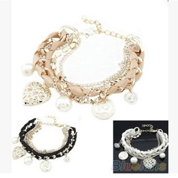 Pierced heart love zhenzhuyuan brand chain bracelet flash multilayer braided rope