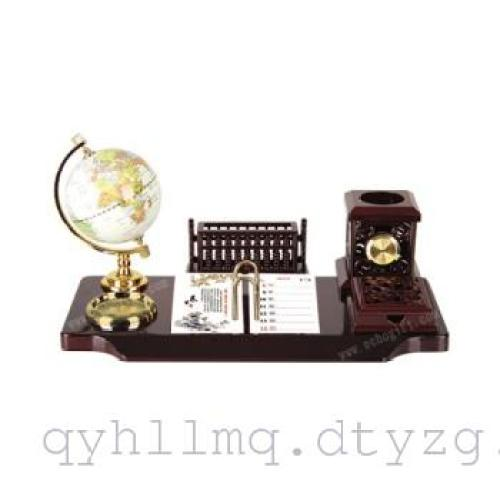 厂家直销地球仪办公台座名片插笔筒时钟商务礼品办公摆件