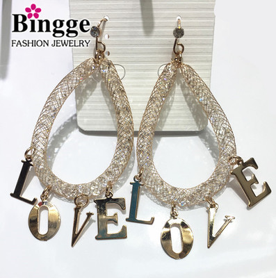 Fashion trend personality jewelry crystal network with LOVE Earrings