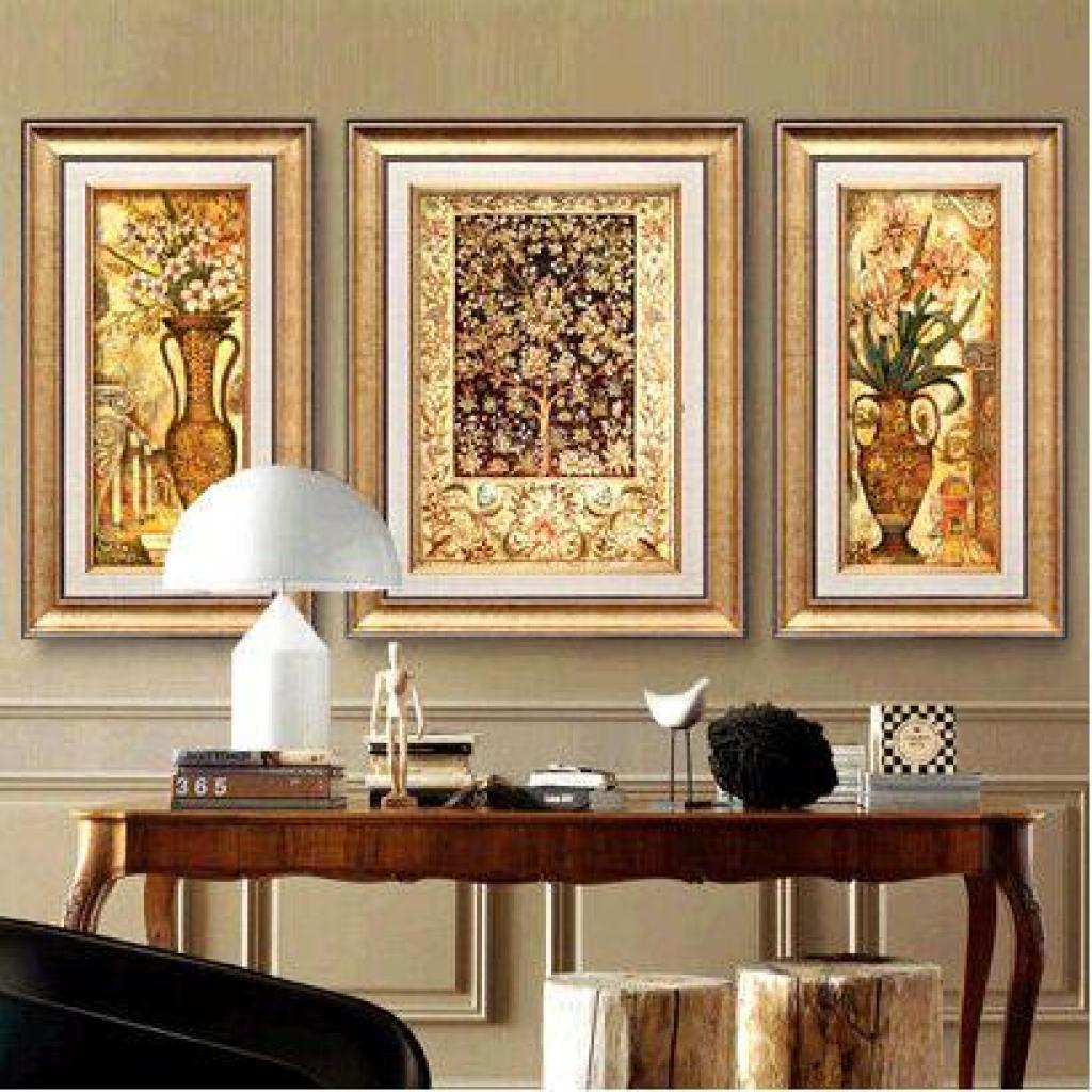 高档美式欧式客厅装饰画油画三联组合壁画挂画