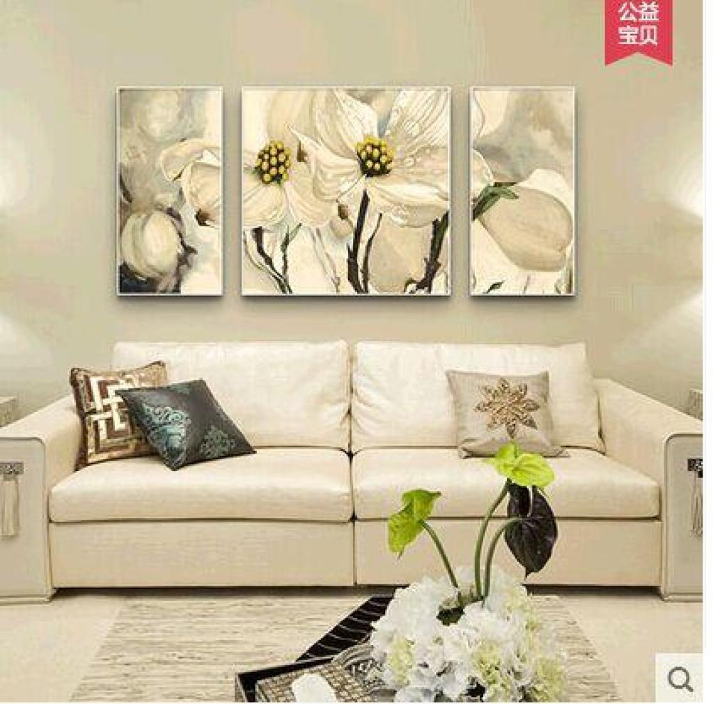 欧式油画花卉客厅玄关百合花家居饰品装饰画吉祥幸