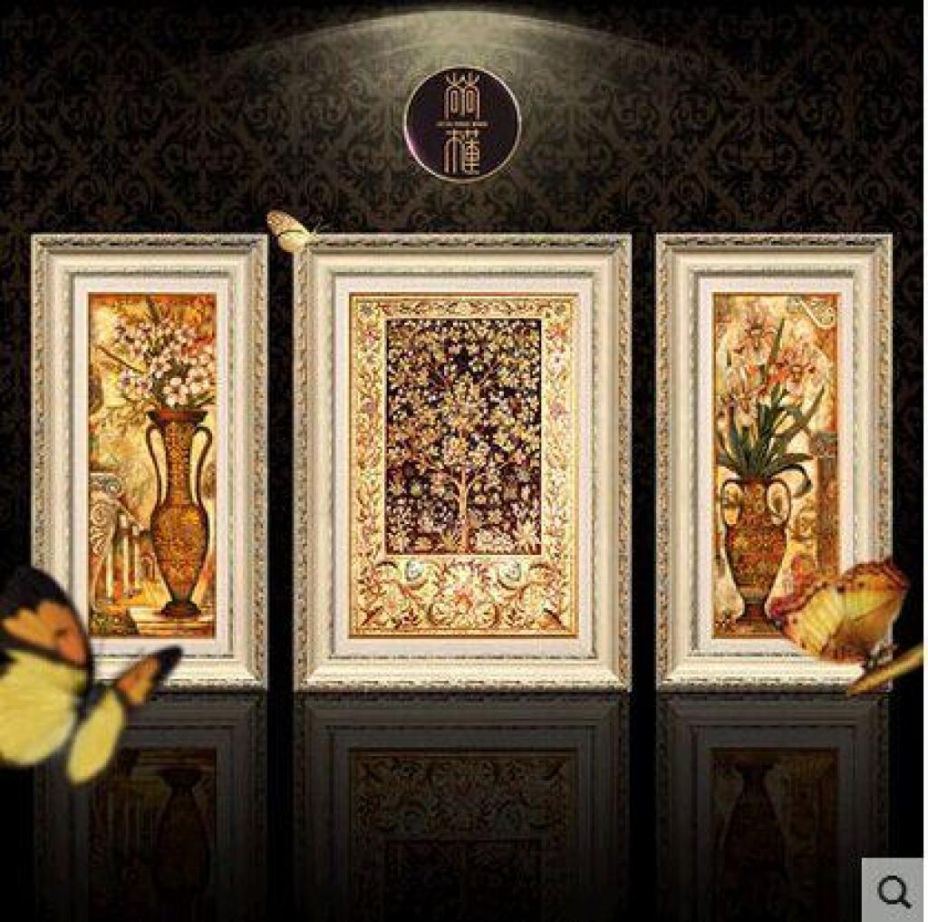 高档美式欧式客厅装饰画油画三联组合壁画挂画图片