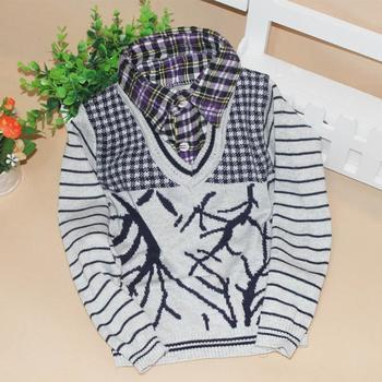 The new Korean Small children are a jacquard sweater shirt collar pullovers for boys wholesale