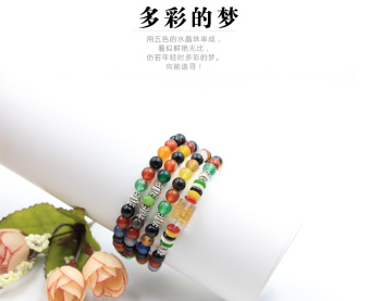 Colorful agate bracelet six words Beads Bracelet sweater chain 108 male and female multi circle multi colorful