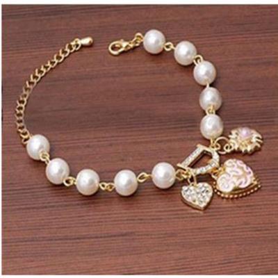 Korean diamond bracelets Pearl Bracelet Heart Letter D