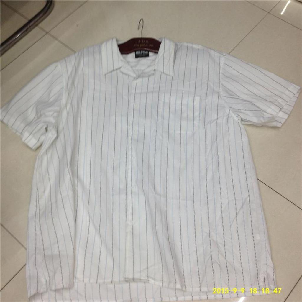 纯棉白色竖条外贸休闲宽松衬衣