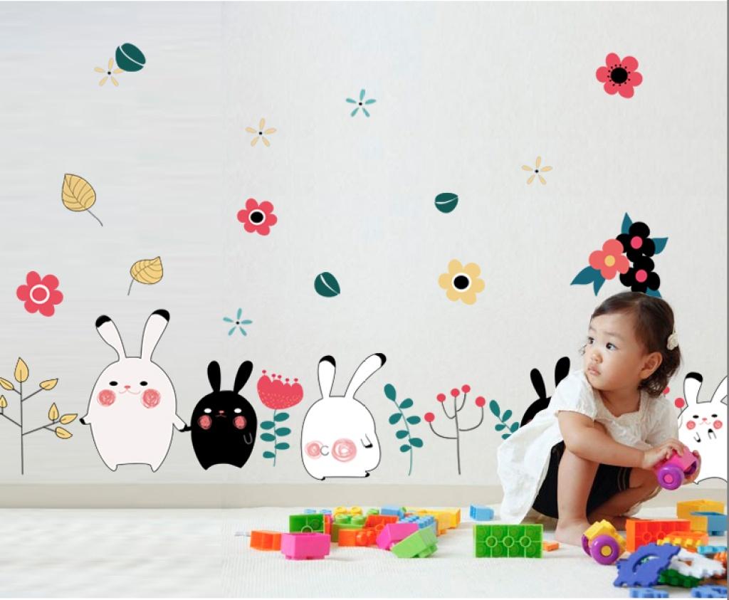 快乐花朵卡通黑白兔子