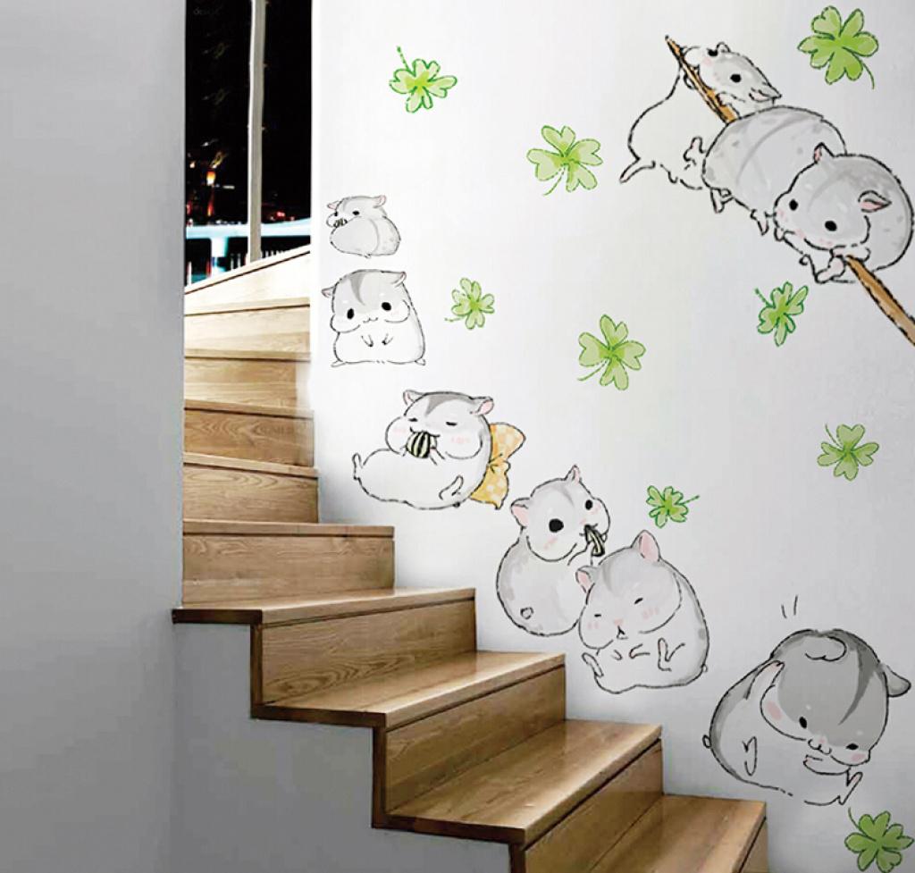 创意幼儿园学校教室楼道玻璃 可爱小仓鼠 儿童房可移墙贴