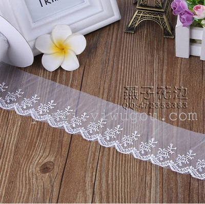 The new polyester silk lace soluble lace full Eugen yarn warp knitted fabric supply garment accessories