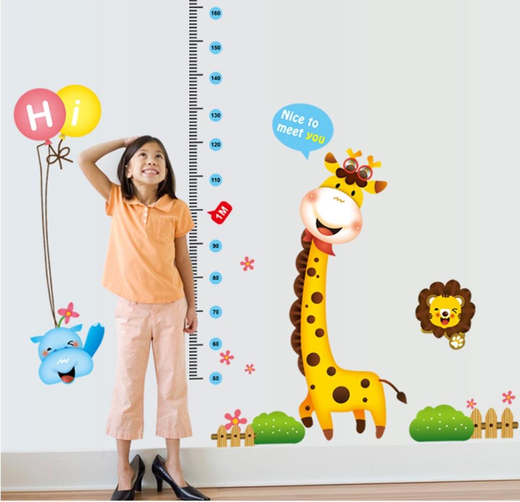 创意幼儿园学校教室 卡通长颈鹿hi气球 身高贴 儿童房墙贴