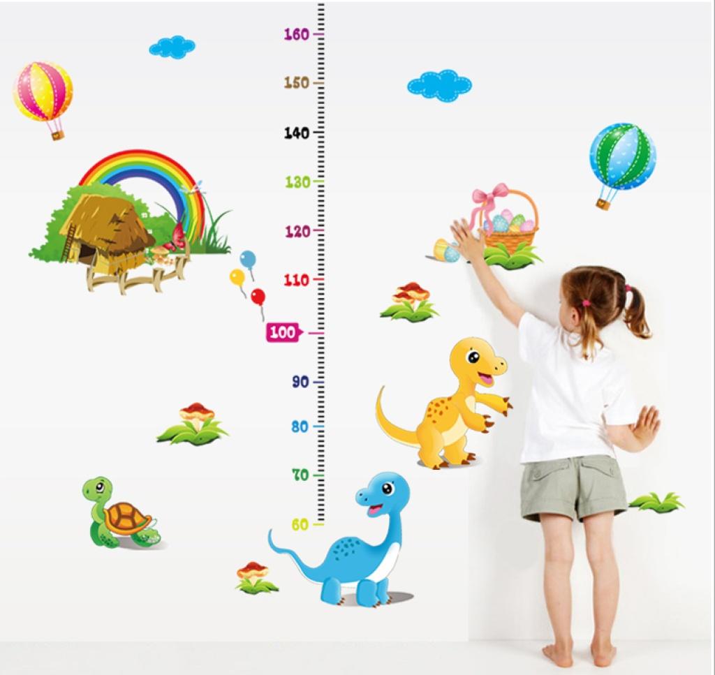 创意幼儿园学校教室 卡通恐龙乌龟彩虹身高贴 儿童房墙贴