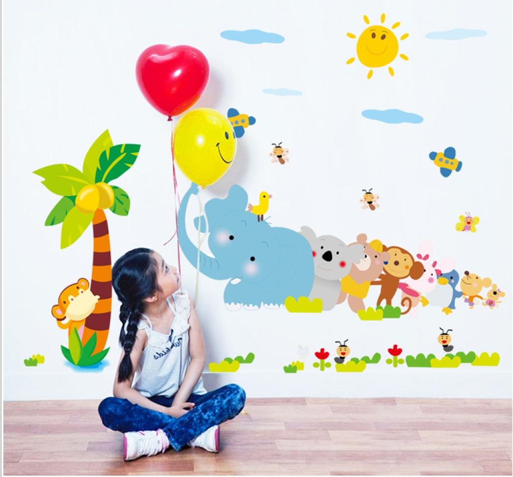 创意幼儿园学校教室 卡通动物椰树大象猴子蜜蜂 儿童房墙贴