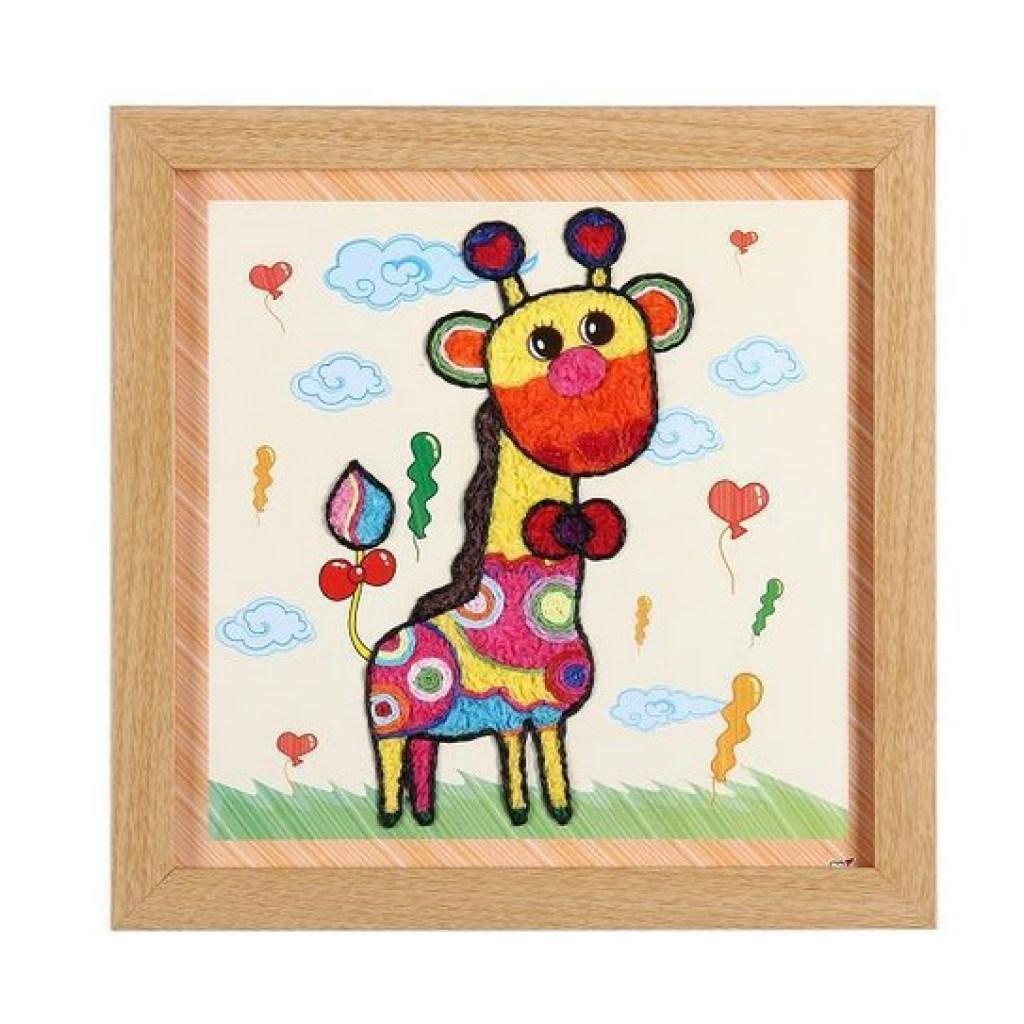 创意diy纸绳纸巾画套装手工纸玩具 益智拼图