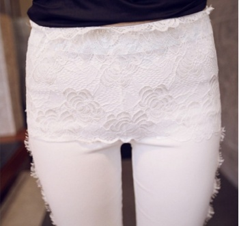 Korean fashion Leggings lace stitching slim pencil pants nine pants pants