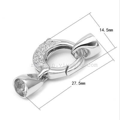 925 sterling silver accessories m round insert spring buckle sleeve pipe fittings zircon